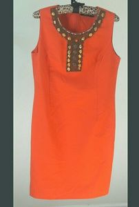 Ellen Tracy Bright Orange Shift Dress with Beading