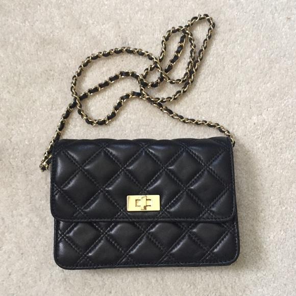22ea1de0b2eb Saks Fifth Black Label Lambskin Crossbody Wallet. M 59e923e74225bed9d00034c5