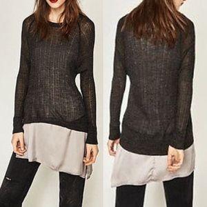 Zara grey knit sweater asymmetrical cami tunic M