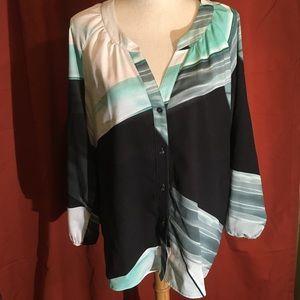 Calvin Klein watercolor abstract sheer blouse XL