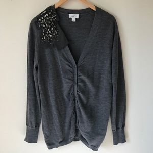 Loft gray embellished bow button down Cardigan