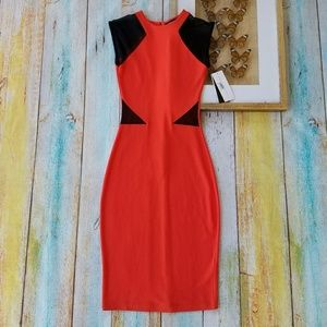 French Connection Red Sheer Bodycon Pencil Dress 2
