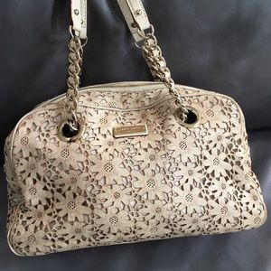 Kate Spade Tan Laser Cut Floral Bag