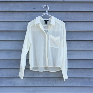 Off White Sheer Button Down Blouse