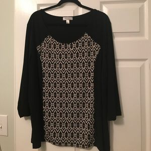 NWOT black and white shirt