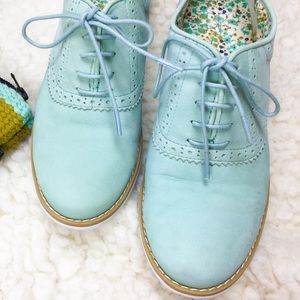 BP 💕real leather💕 mint green nubuck lace oxfords