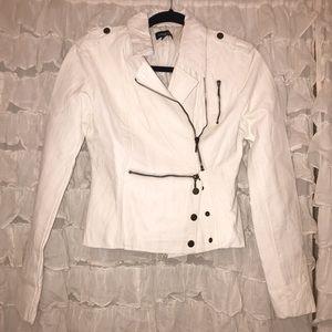 Bebe White Ivory Leather Moto Lined Jacket Zip
