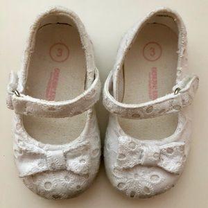 White Eyelet Mary Jane Shoes