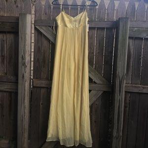 Buttery yellow BCBGMAXAZRIA 100% silk maxi dress