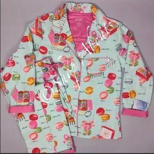 Nick & Nora Macaron Flannel Pajama Set NWT