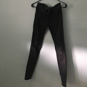 Distressed Black Faded Jeans