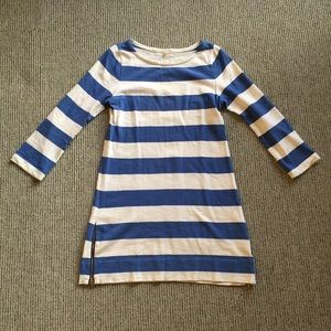 J. Crew blue and white striped dress with zippers.
