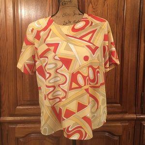 Vintage Kathy Che Geometric Print Blouse