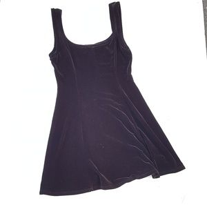 BCBGMaxAzria faux velvet black skater dress