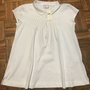 Anthropologie Postage Stamp Ruched Polo Shirt SZ S