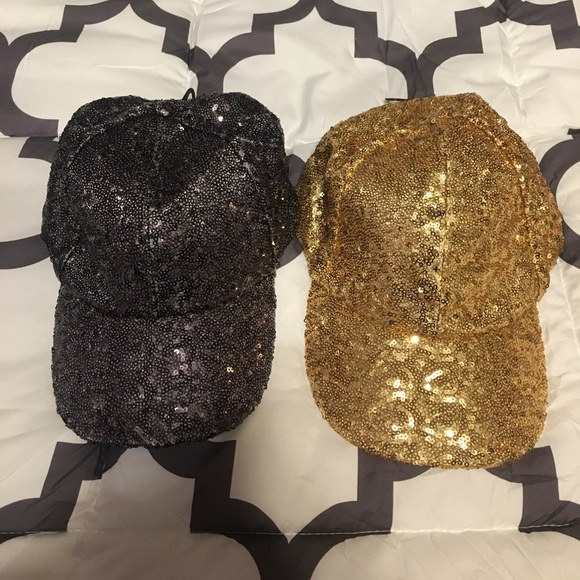 fad40d3c270 Pewter and Gold Sequin Baseball Hats