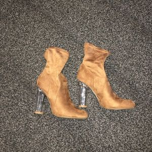 Brand New Suede Ankle Boots with Clear Heel