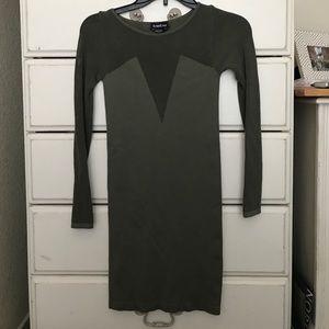 Bebe army green body con dress