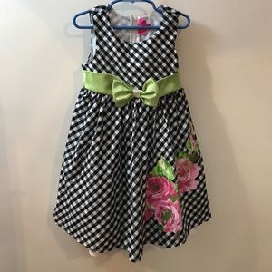 Checkered Print Dress with Bow & Flower Graphic
