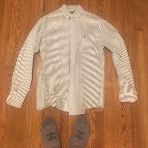 Ralph Lauren Green/White Strip Custo Fit Size M