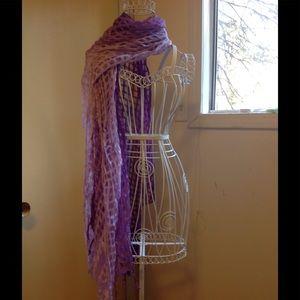 2 tone Purple Sheer Filmy Basketweave Scarf & Wrap