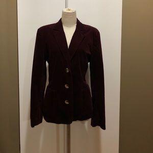 Gap L burgundy cotton velvet 3 button blazer.