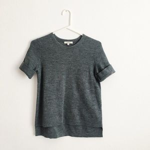Madewell grey sweater shirt with short sleeves
