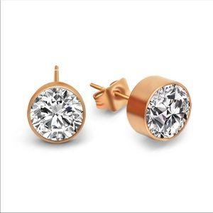 Titanium steel CZ earrings
