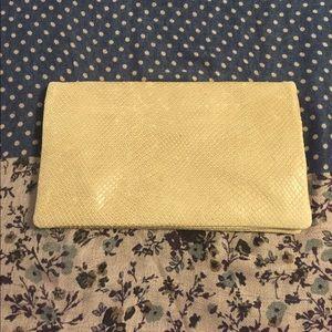 Ann Taylor beige snake skin print clutch
