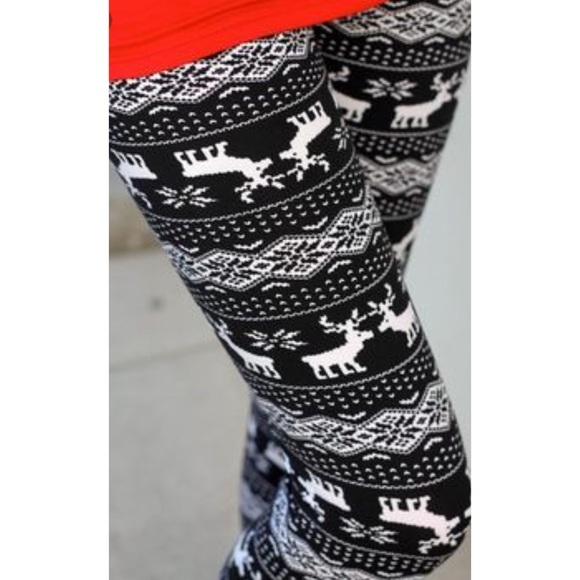 86% off Couture Gypsy Pants - Black White Reindeer Fairisle ...