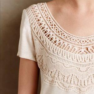 Anthropologie Meadow Rue Crochet Bib Shirt