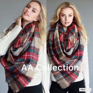 Accessories - Plaid blanket scarf oversized check wrap shawl