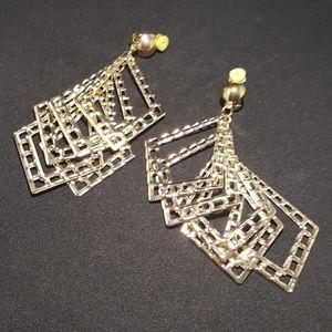 Gold Dangling Clip on Earrings