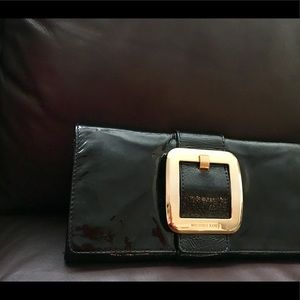 Michael Kors Patent Leather and Gold Buckle Clutch