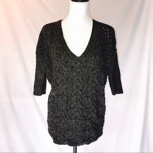 Express Dark Green Black Cabled Cotton Sweater
