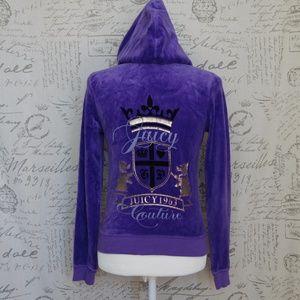 JUICY COUTURE Purple Velour Zip Up Jacket M