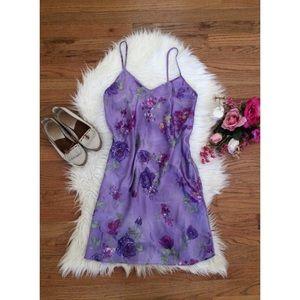 🍂 Vintage 90's Lavender Floral Satiny Slip 🌿