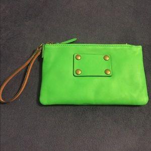 NWT Ann Taylor bright green clutch