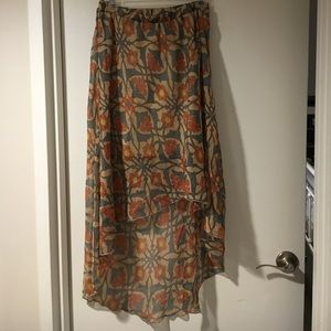 Anthropologie Willow & Clay floral High Low Skirt