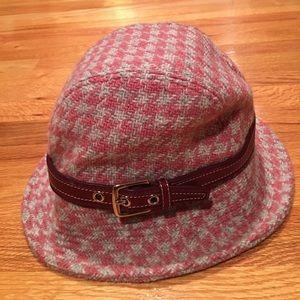 Coach pink tweed bucket hat p/s