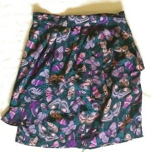 H&M purple butterfly pencil mini skirt with ruffle