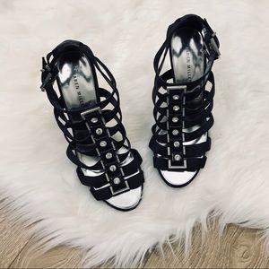 Karen Millen Black Rhinestone Strappy Heels