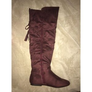 Knee High Boots - Burgundy