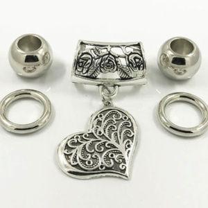 Filigree Heart #1 ~ Silver Scarf Ring Pendant