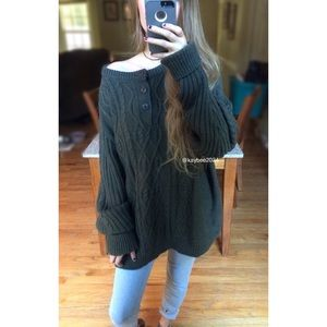 🍂 Vintage Olive Cozy Henley Cable Knit Sweater ☕️