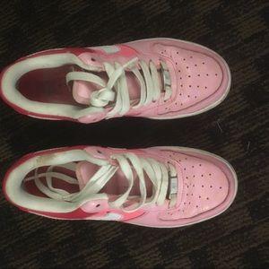 Pink Nike Air Force sneakers