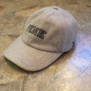 PINK Victoria's Secret gray cap hat wool felt