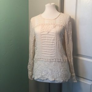 Tops - Cream long sleeve lace blouse