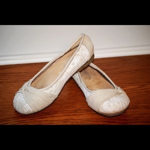Maurices tan with white lace flats