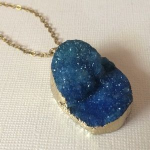 Jewelry - Royal Blue Druzy Necklace On Gold Cable Chain